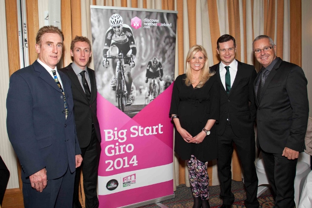 Cycling legends Sean Kelly, Daniel Martin, Nicholas Roche and Stephen Roche joined Fiona Cunningham from the Northern Ireland Tourist Board (NITB) at the recent Cycling Ireland Annual Awards which were held in the O?Callaghan Alexandra Hotel in Dublin. NI